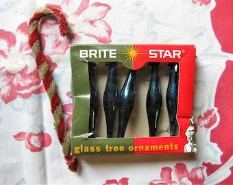 Vintage Brite Star Glass Tree Ornaments, Five Ornaments in Box, Blue Glass Ornaments