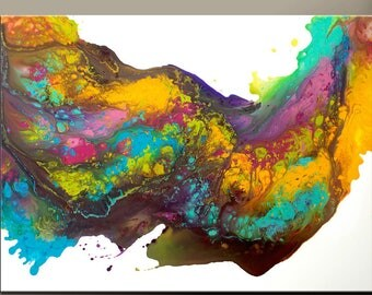 Abstract Canvas Art Painting 40x30 Contemporary Original Wall Art Paintings by Destiny Womack -  dWo - Over the Rainbow