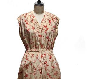 Vintage Ivory Silk Sleeve Less Dress