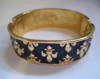Princess Michaela Von Habsburg MVH Crown Jewels Teal Enamel and Fleur de Lis Hinged Bangle Bracelet