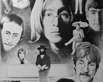 John Lennon collage-style drawing (0759)