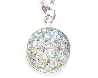 """Crystal Clear Faux Druzy Necklace 18"""" Stainless Steel Chain"""