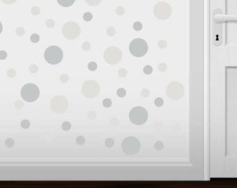 BACK to SCHOOL SALE Set of 30 Light Grey / Clear Vinyl  Polka Dot Wall Decals Circles Stickers (Peel & Stick Decal Circle Dots)