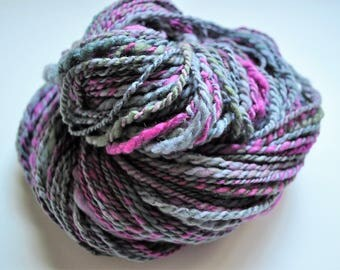 Alpine Sunset. Handspun Merino Art Yarn 2 ply