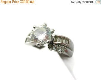 OnSale Cubic Zirconia Engagement Ring - Sterling Silver, Channel Set Accent Stones, Size 9