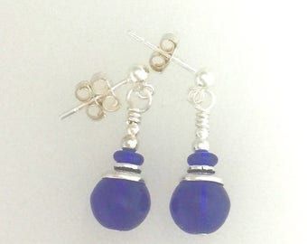 OnSale Cobalt Blue Glass And Silver Earrings #8