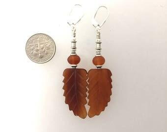 Buffalo Horn Hand Carved Bead Earrings  c