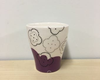 handmade porcelain juice cup: Dot Dot Biscuit cup by Meredith Host, purple, cocktail cup, small cup, gift for sister, polka dots, black