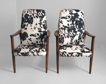 NEW mid century modern faux PONY hide & WALNUT lounge chairs