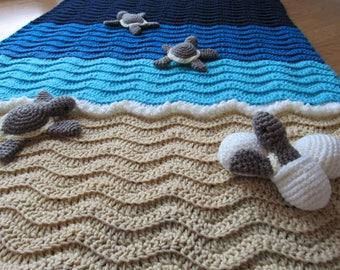 Custom Crochet Sea Turtle Beach Baby Blanket