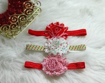 Christmas Headbands, Christmas Baby Headbands Baby Girl, Red Headbands, Christmas Baby Gift, Baby Hair Bows, Shabby Flower Headbands