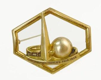 1939 World's Fair Brooch Art Deco Trylon & Perisphere