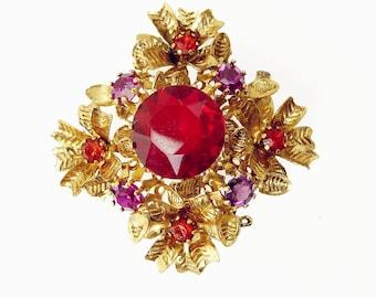 Vintage Rhinestone Brooch  Austrian Red & Amethyst Flower Brooch
