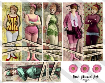 Bookmarks, Digital Collage Sheet ,2X6 inch, Fancy Book Ladies (Sheet no. FS290) Instant Download