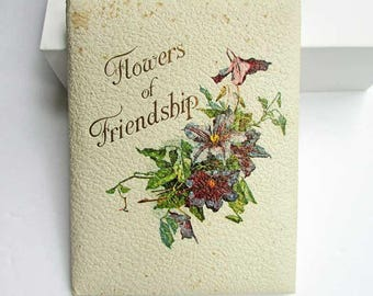 Antique Edwardian 1910 Flowers of Friendship Gift Book, Floral Illustrations, Decorated Pages, Poetry, Friendship Book, Romance Book
