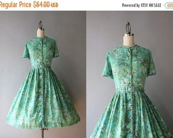 STOREWIDE SALE Vintage 50s Dress / 1950s Cotton Pleated Day Dress / 50s Green Floral Gauzy Cotton Shirtwaist Dress S small