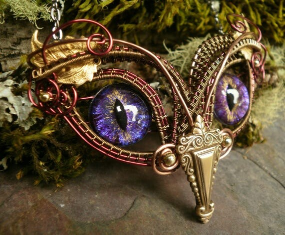 Gothic Steampunk Baby Owl with Purple Eyes