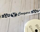 "BYU Brigham Young University Cougars satin ribbon 7/8"" 3 yards yd Hairbows bows blue white"