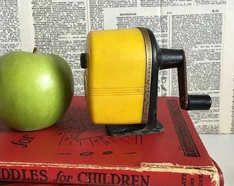 Vintage yellow pencil sharpener - office supplies - teacher - classroom - desk