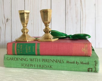 Vintage Book Stack pink and green- gardening book - preppy - gold - bookshelf decor - coffee table decor