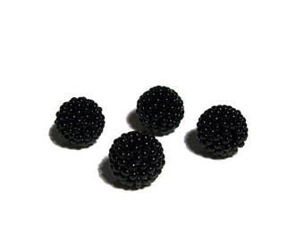 Black beaded beads handmade 12mm beads 4pcs