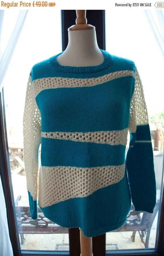 Christmas In July Handknitted Merino Jumper in Turquoise and Cream in Unusual Pattern