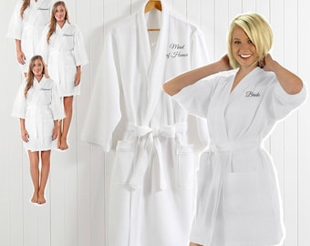 Bridal Robes Bridesmaid Mother of the Bride Bathrobe Embroidered Robe Personalization Custom Name Monogram Party Gift Customized Wedding