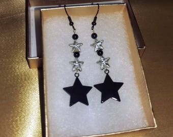 To the Stars. Black and silver glittery earrings