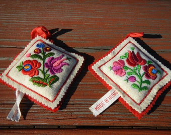 Vintage Felt Pincushion Embroidered Made in Hungary Sewing