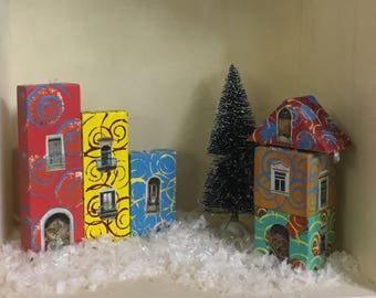 Hand Painted Quirky Wooden Block Village - Set Five