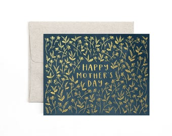 Navy Floral Happy Mother's Day // Illustrated Card // Gold Foil // 1canoe2