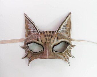 Little Tabby Cat Leather Mask House Cat costume Mardi Gras New Years entirely handcrafted lightweight and easy to wear