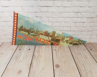 Vintage Montreal Canada Souvenir Pennant