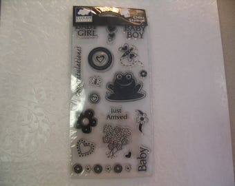 18 Piece Clear Black Baby Boy and Girl Stamps Embellishments Craft Scrapbook Supplies