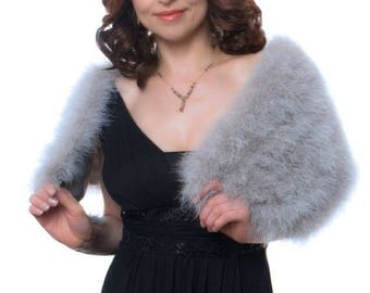 Promo Sale: Silver Grey Marabou Wrap with Detachable Scarves (4 colors available)