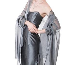 Promo Sale: Silver Grey Evening  Silk Chiffon Stole/ Wrap/ Shawl with semi-sleeves