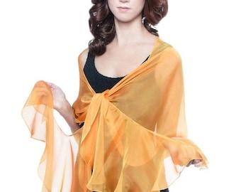 Promo Sale: Evening Marigold Yellow Silk Chiffon Scarf Wrap