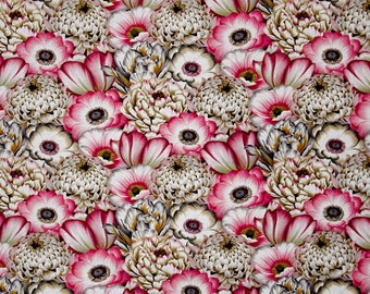 New ~ Large Packed Florals Pink Color ~ Tivoli Garden by Anne Rowan for Wilmington Prints, Quilt Cotton, Easter, Spring Fabric