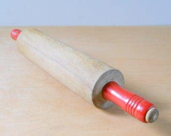 Vintage Wood Rolling Pin • Red Handles Independent Rolling
