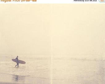 SALE California photography, surfer photograph, Venice Beach art, ocean foggy winter morning silver pale grey water seaside for him dudes fa