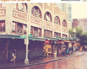 SALE Pike Place photograph, downtown Seattle, Starbucks coffee, rainy day in Seattle, Pacific Northwest urban street, travel photography pri