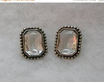 ON SALE Retro Large Faceted Clear Lucite Earrings