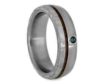 Alexandrite Wedding Band With Meteorite And Whiskey Barrel Wood, Matte Titanium Ring