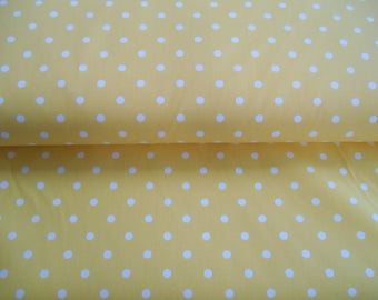 "Yellow polka dot twill 35% cotton 65 polyester fabric 1 yd x 65"" wide FREE SHIP"