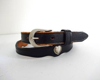 Vintage CONCHO HEART Belt • 1990s Black Leather Studded Rodeo Embellished Belt Silver Buckle Cowgirl Nashville Outlaw Circle Y Made in USA