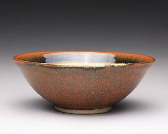 handmade pottery bowl, ceramic serving bowl, ceramic dish with iron red brown and light yellow celadon glazes