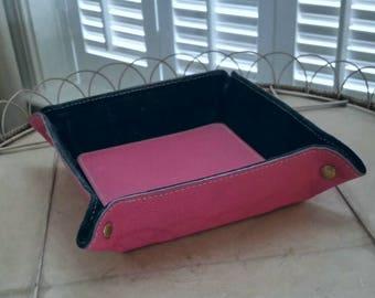 Italian leather valet tray