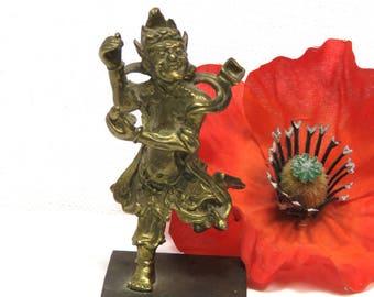 Hindu Dancing Diety/ Small Brass Figurine/ Very Detailed Miniature Statuette