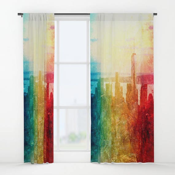 New York Window Curtain, City, Urban, Decorative, Unique Design, Abstract Decor, Office Window Curtain, Dorm, Campus, Manhattan, Skyline