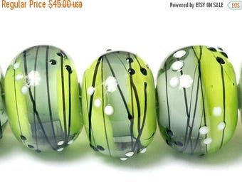 ON SALE 35% OFF Six May Day Party Rondelle Beads - Handmade Glass Lampwork Bead Set 10506921